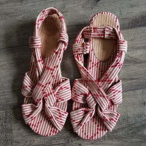 Anthropologie Lucky Penny Racing Red Sandals